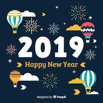 Platte ballonnen nieuwe jaar achtergrond