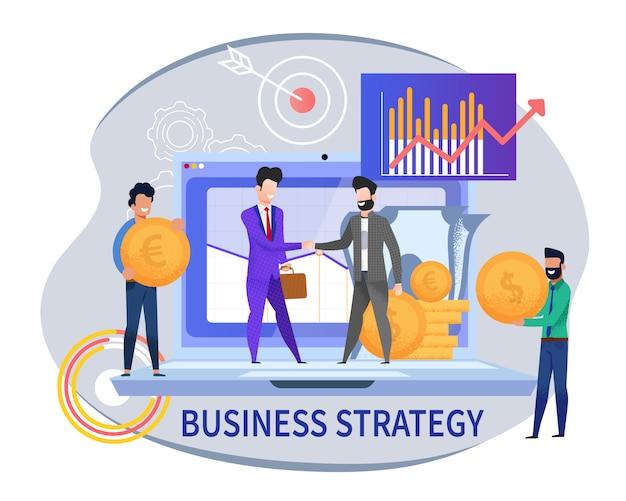 Platte banner bedrijfsstrategie op wit b