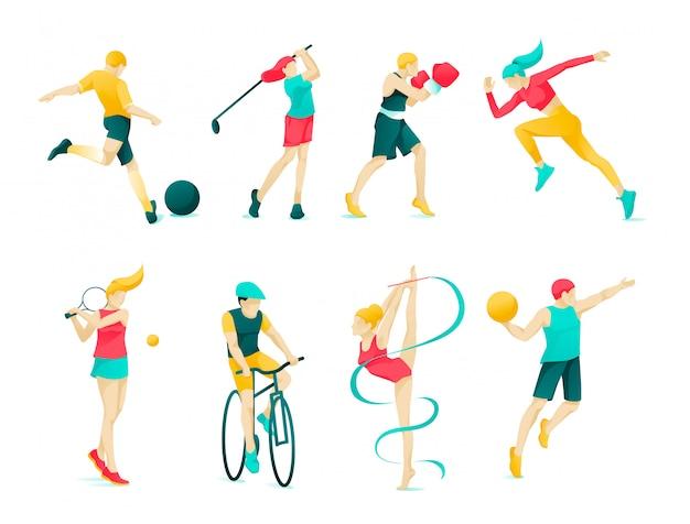 Platte banner collectie sport karakter mensen.