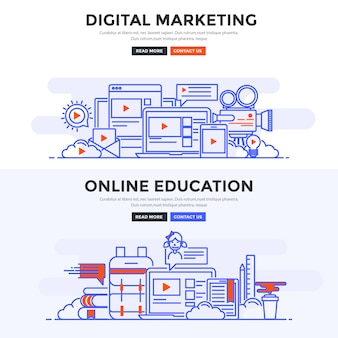 Platte banner digital marketing en online onderwijs