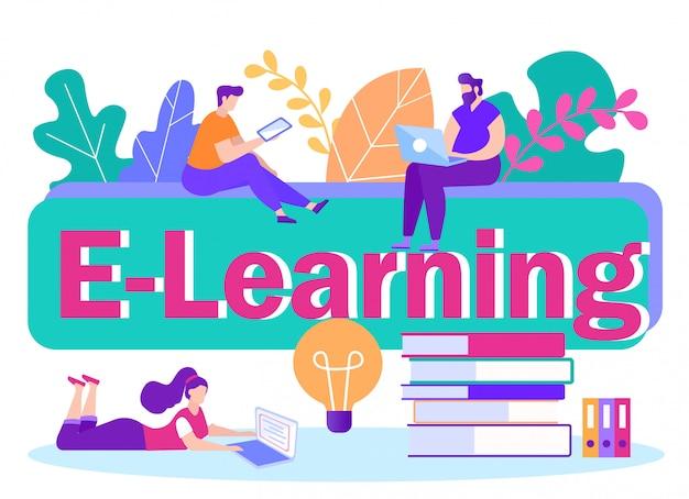 Platte banner inscriptie e-learning illustratie.