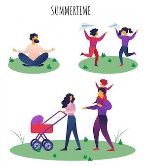 Platte banner inscriptie zomertijd belettering.