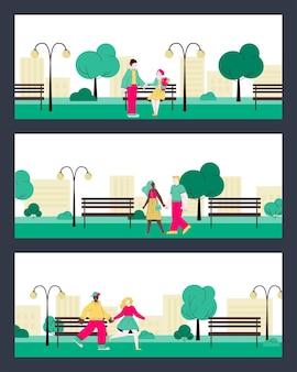 Platte banner set cartoon paar wandelen in het park buiten zomer datum
