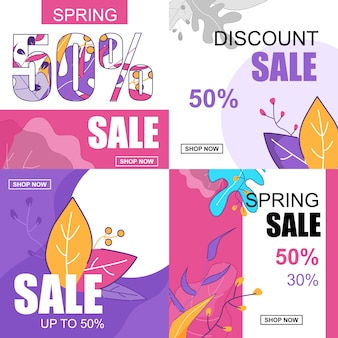 Platte banner set lente korting verkoop 50 procent.