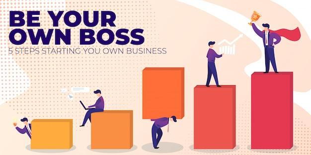 Platte banner wees je eigen baas op roze achtergrond.