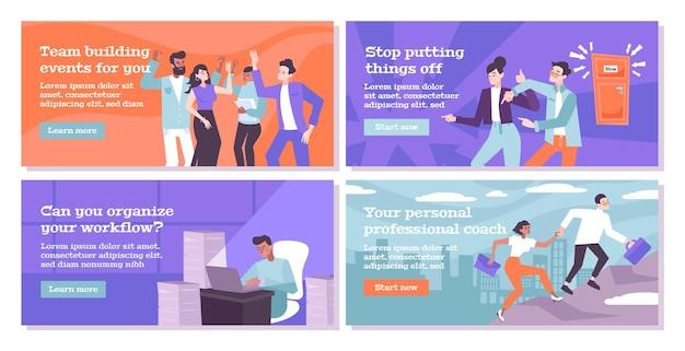 Platte banners die teambuilding aanbieden persoonlijke en professionele training en organisatie van de workflow
