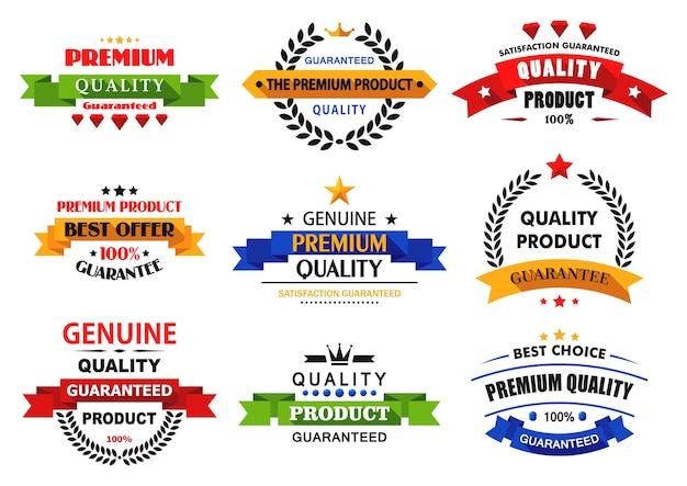 Platte banners, emblemen en labels met lange schaduwen voor detailhandel en verkoopontwerp