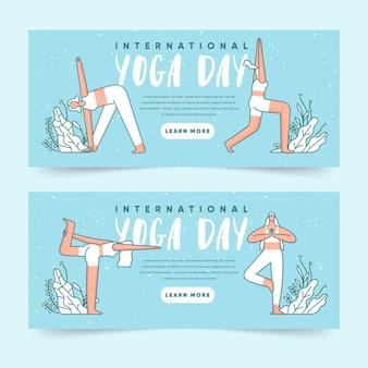 Platte banners instellen met internationale dag van yoga