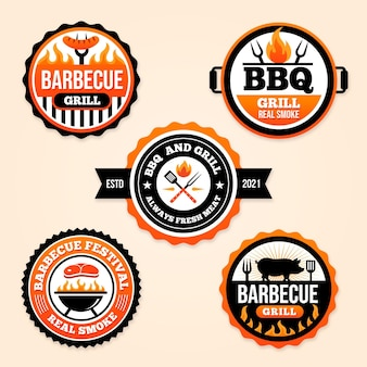 Platte barbecue badge-collectie Gratis Vector