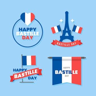 Platte bastille dag badge-collectie