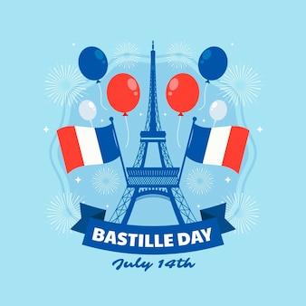 Platte bastille dag illustratie