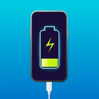 Platte batterijlading voor ontwerp van mobiele apparaten.