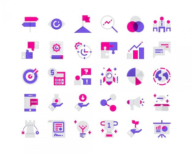 Platte bedrijfs pictogrammen.