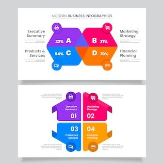 Platte bedrijfsconcept infographics