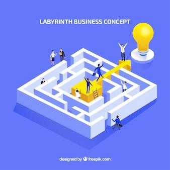 Platte bedrijfsconcept met labyrint