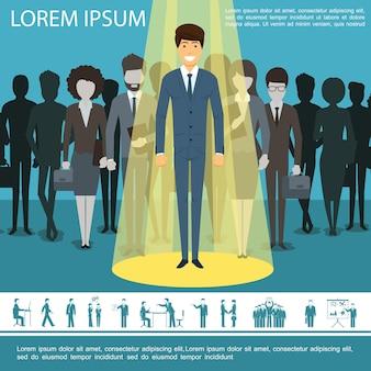 Platte bedrijfsmensen sjabloon met groep ondernemers managers vrouwelijke ondernemers en zakenman pictogrammen illustratie,