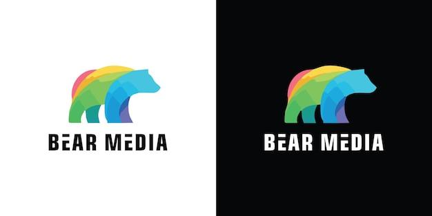 Platte beer lopen logo symbool illustratie premium vector