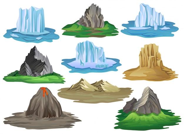 Platte berg en ijsberg instellen illustratie geïsoleerd