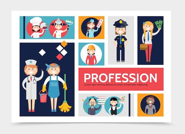 Platte beroep tekens infographic sjabloon met arts meid chef-kok schilder stewardess serveerster