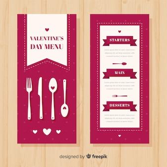 Platte bestek valentijn menusjabloon