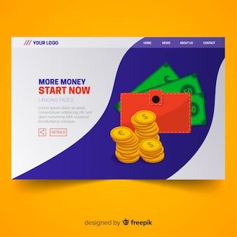 Platte bestemmingspagina geld met portefeuille
