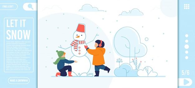 Platte bestemmingspagina met gelukkige kinderen sneeuwpop maken