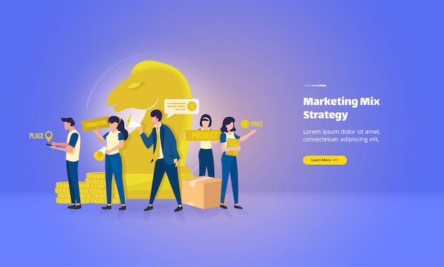 Platte bestemmingspagina met marketingmixstrategieconcept