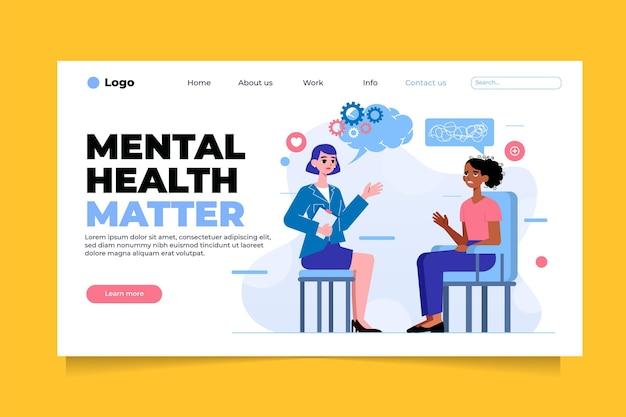 Platte bestemmingspagina voor geestelijke gezondheid