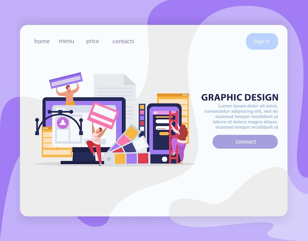 Platte bestemmingspagina voor grafisch ontwerp met links en bitviolette knop verbinden