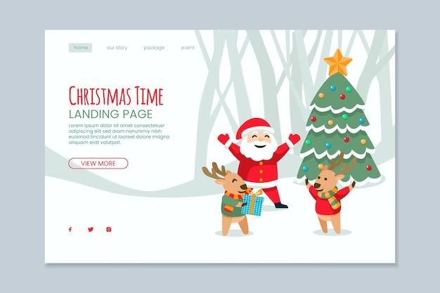 Platte bestemmingspagina voor kerstmis