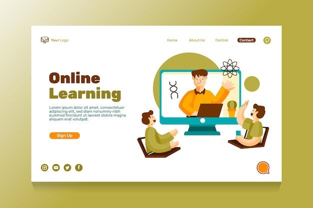 Platte bestemmingspagina voor online onderwijs