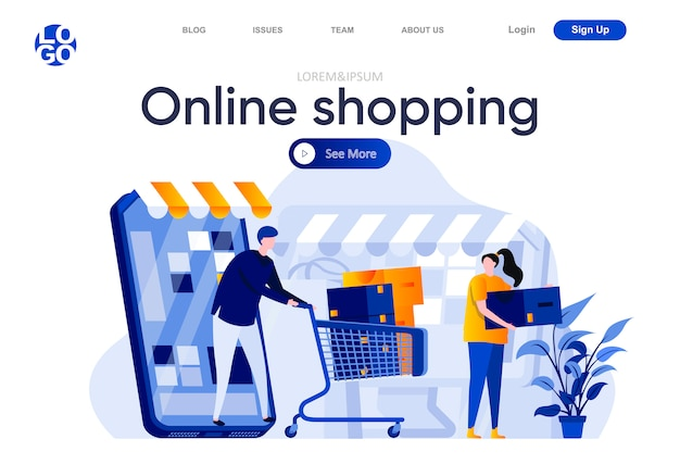 Platte bestemmingspagina voor online winkelen. winkelen met mobiele applicatie, paar met trolley koffer vol aankopen illustratie. internet marktplaats webpagina samenstelling met personages.