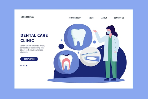 Platte bestemmingspagina voor tandheelkundige zorg
