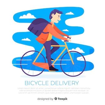 Platte bezorger op fiets achtergrond