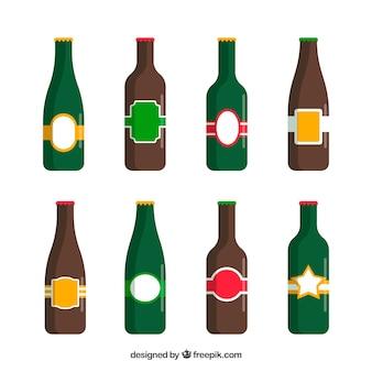 Platte bierfles collectie met label