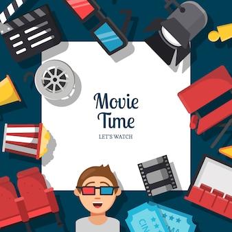 Platte bioscoop pictogrammen achtergrond met plaats voor tekst