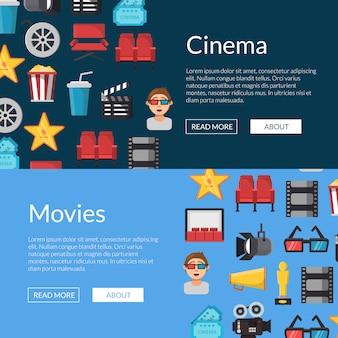 Platte bioscoop pictogrammen web banner sjablonen