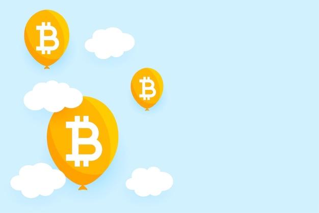Platte bitcoin ballon zeepbel concept achtergrond