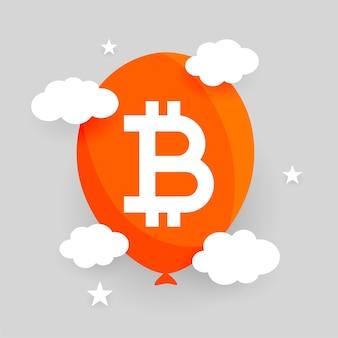 Platte bitcoin-bubbelballon met wolkenconcept