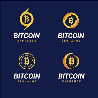 Platte bitcoin logo sjabloonverzameling