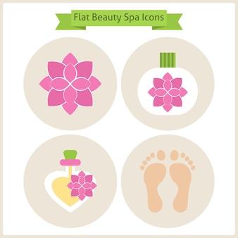 Platte bloem schoonheid en spa icons set. set van natuurlijke schoonheid ingrediënten. vectorillustratie. platte cirkelpictogrammen voor web. lichaamsschoonheid en procedure. reflexologie en spa. gezondheid levensstijl