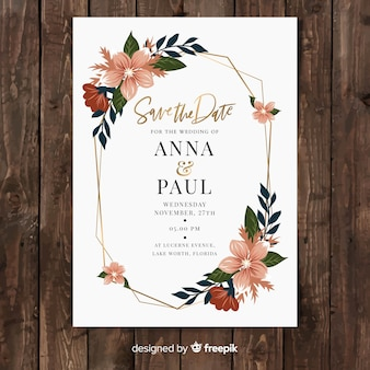 Platte bloemen bruiloft kaartsjabloon