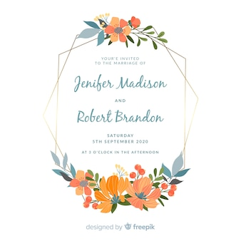 Platte bloemen frame bruiloft uitnodiging
