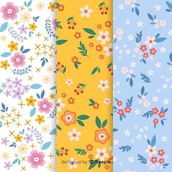 Platte bloemen patroon collectie