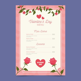 Platte bloemen valentijnsdag menusjabloon