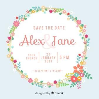 Platte bloemenhuwelijksuitnodiging
