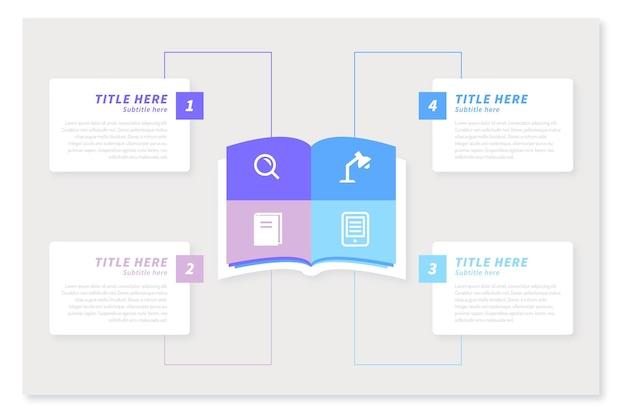 Platte boek infographics concept
