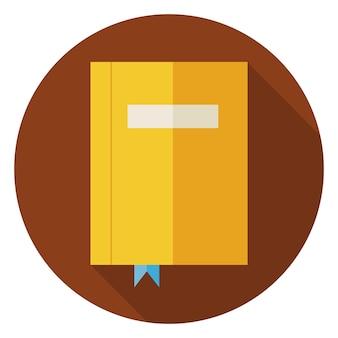 Platte boek met bladwijzer. terug naar school en onderwijs vectorillustratie. vlakke stijl kleurrijke boek cirkel pictogram met lange schaduw. bibliotheek en literatuur. boek met bladwijzer om te lezen