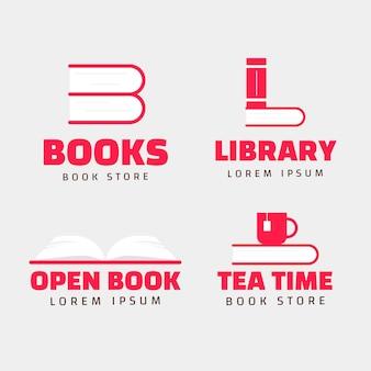 Platte boek universum logo set