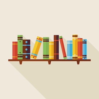 Platte boekenplank lezen boeken illustratie met schaduw. terug naar school en onderwijs vectorillustratie. platte stijl kleurrijke boeken met lange schaduw. bibliotheek interieur.